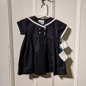 NWT Coccoli Linen Sailor Bow Baby Dress 6m